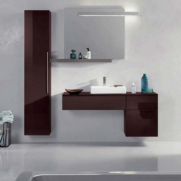 Twyford 3D 890mm Single Drawer Vanity Unit with Basin - Plum  Profile Large Image