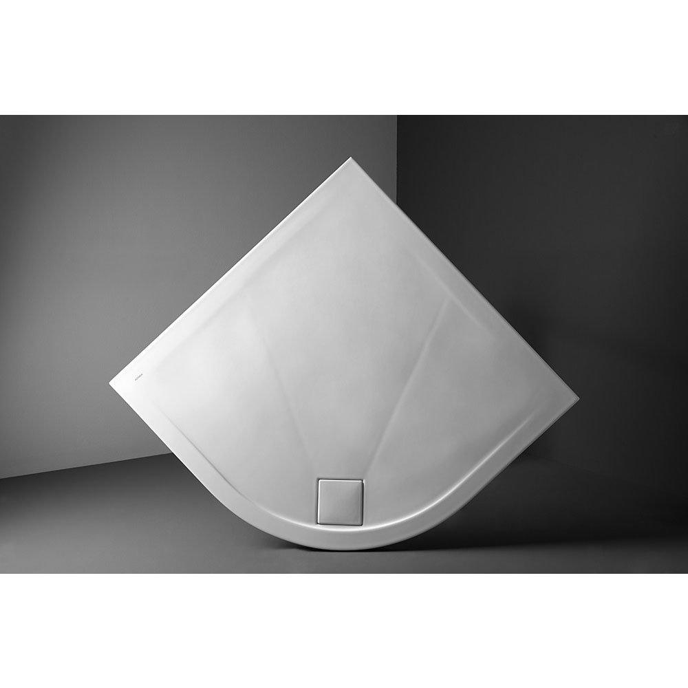 Simpsons - Plus+Ton Quadrant Matt White Ceramic Shower Tray & Waste - 900 x 900 x 30mm Profile Large Image