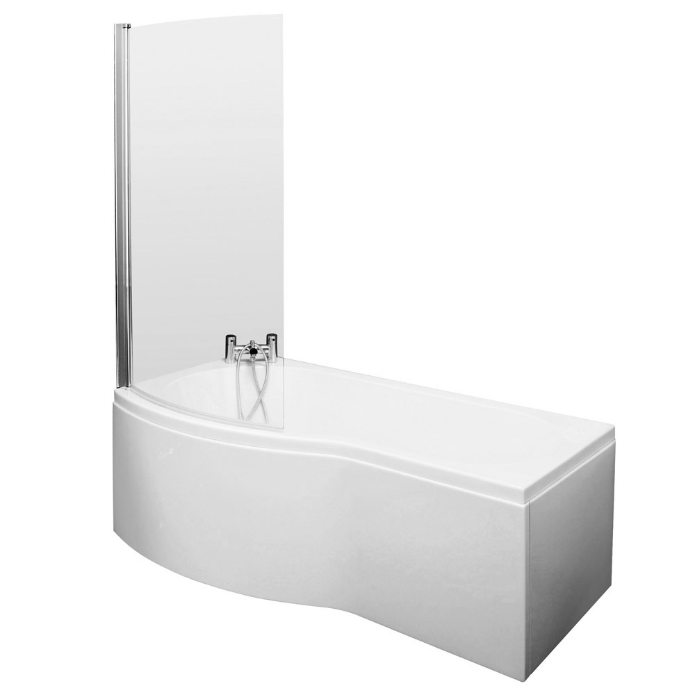 Premier Curved Shower Bath (1500mm with Screen + Acrylic Panel) profile large image view 2