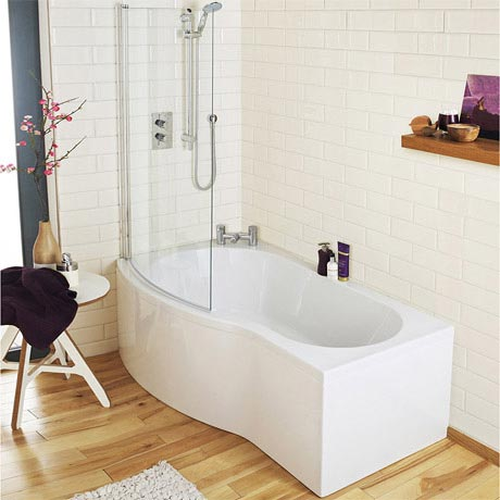 Premier Curved Shower Bath - 1500mm with Screen & Acrylic Panel