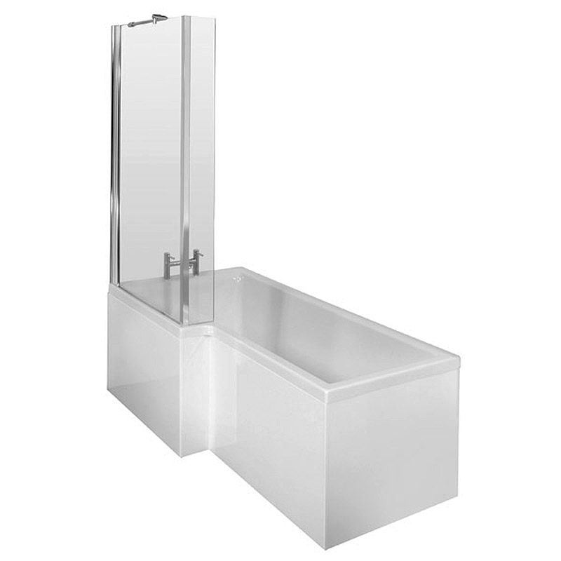 Premier 1700mm L-Shaped Square Shower Bath with MDF Panels & Screen profile large image view 3