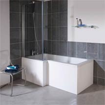 Premier 1700mm L-Shaped Square Shower Bath with MDF Panels & Screen Medium Image