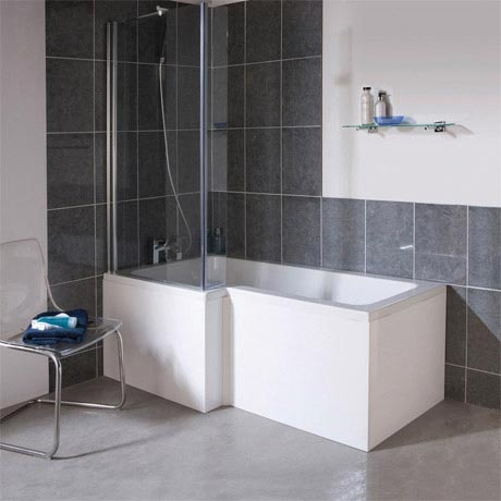 1700mm L Shape Square Shower Bath Amp Screen White Left