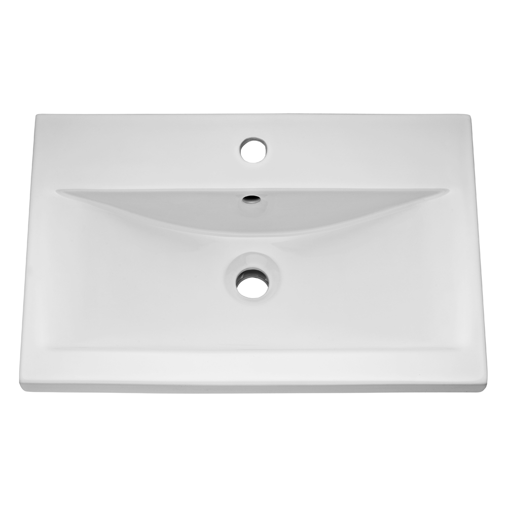 Turin Basin Unit - 600mm Modern High Gloss White with Mid Edged Basin Profile Large Image
