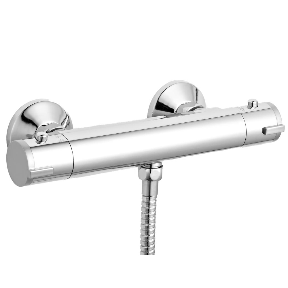 Ultra ABS Round Thermostatic Bar Valve - Bottom Outlet - Chrome - VBS001 profile large image view 1