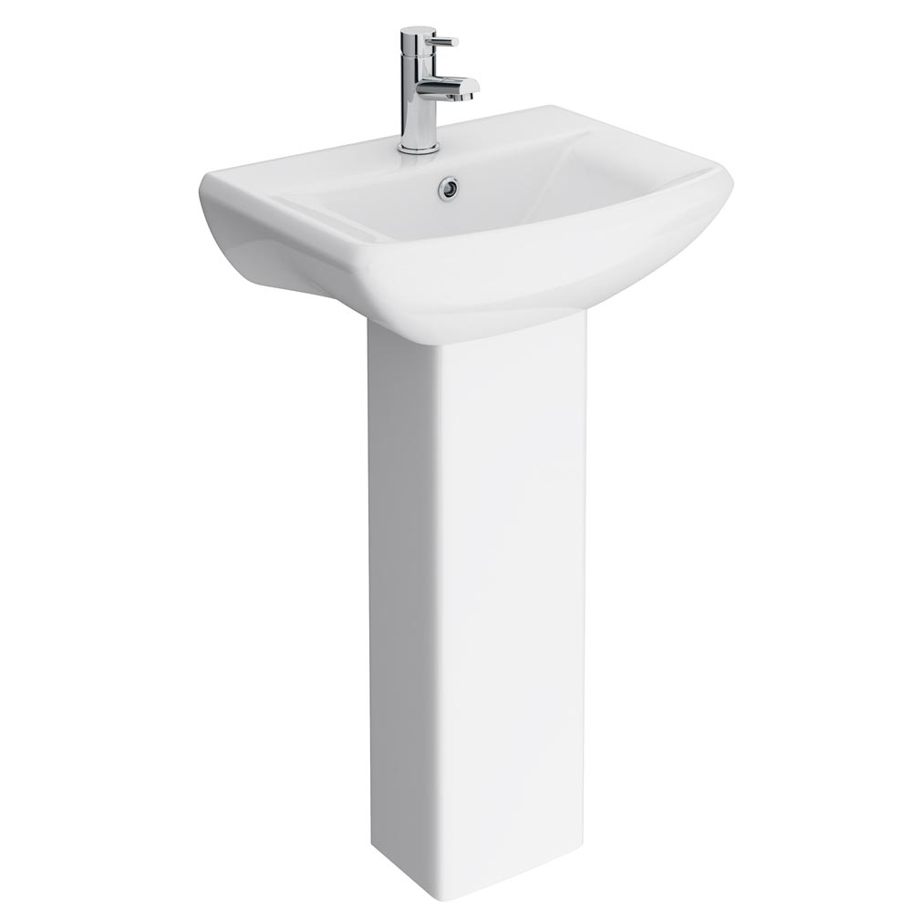 Premier Asselby Cloakroom Basin 1TH with Pedestal (500 x 375mm) Large Image