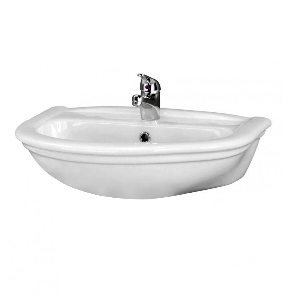 Premier Barmby Wall Hung Basin + Fixings - 600mm Wide Large Image