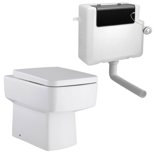 Premier Bliss Square Back to Wall Pan Inc. Top Fix Seat + Concealed Cistern Large Image