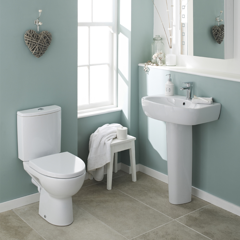 Premier Cairo 4 Piece Bathroom Suite - Toilet & 1TH Basin with Full Pedestal profile large image view 1