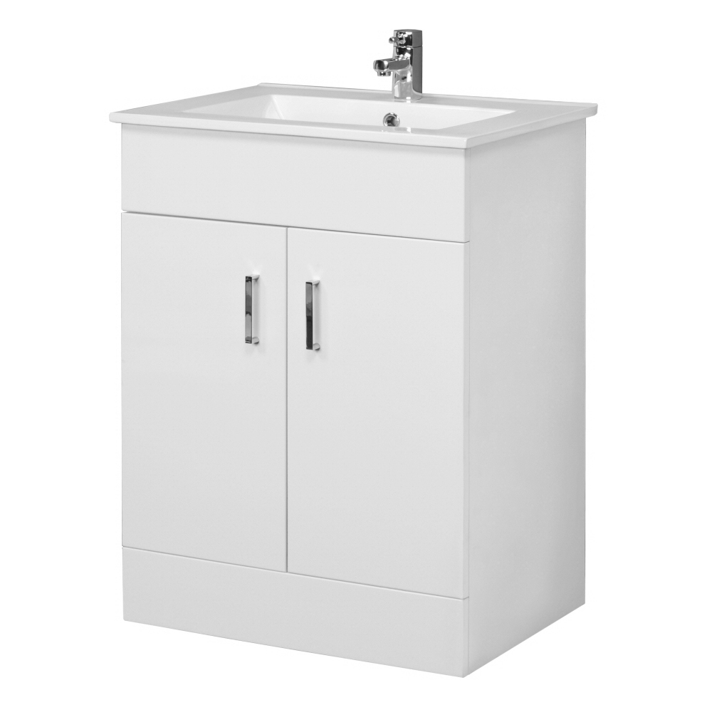 Premier Cardinal Minimalist Gloss White Vanity Unit W600 x D400mm - VTMW600 profile large image view 1