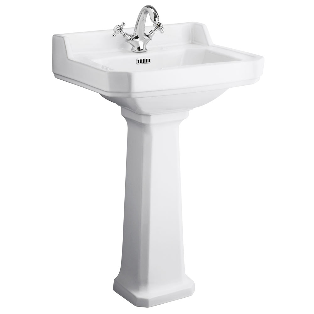 Nuie Carlton 1 Tap Hole Traditional Basin + Pedestal (Various Size Options)