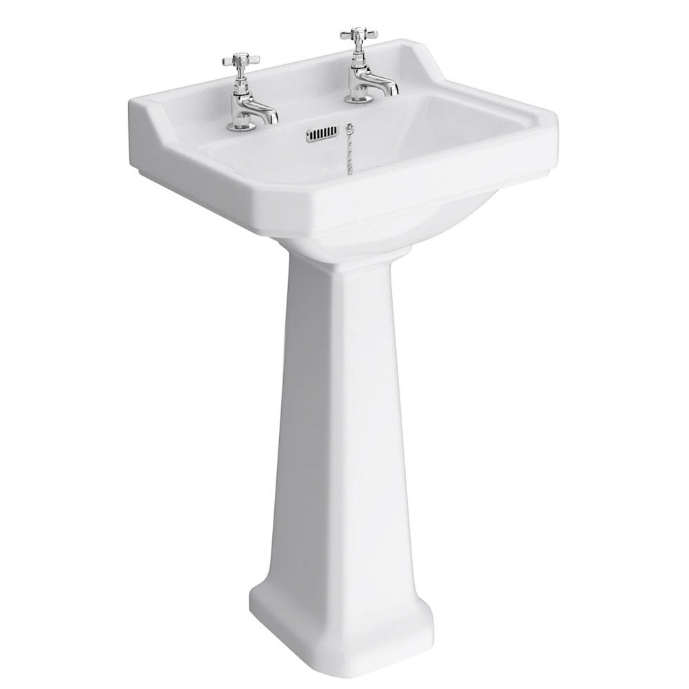 Exceptional Premier Carlton Traditional Basin + Pedestal (2 Tap Hole   Various Sizes)  Medium Image