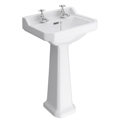 Premier Carlton Traditional Basin + Pedestal (2 Tap Hole - Various Sizes)