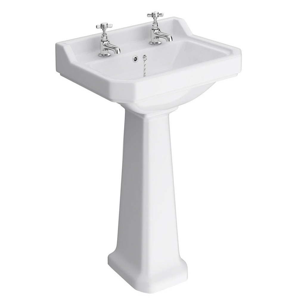 Premier Carlton Traditional Basin with Pedestal (2 Tap Hole - Various Sizes) profile large image view 1
