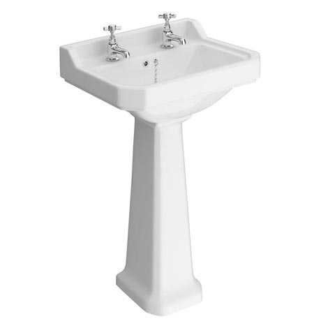 Premier Carlton Traditional Basin with Pedestal (2 Tap Hole - Various Sizes)