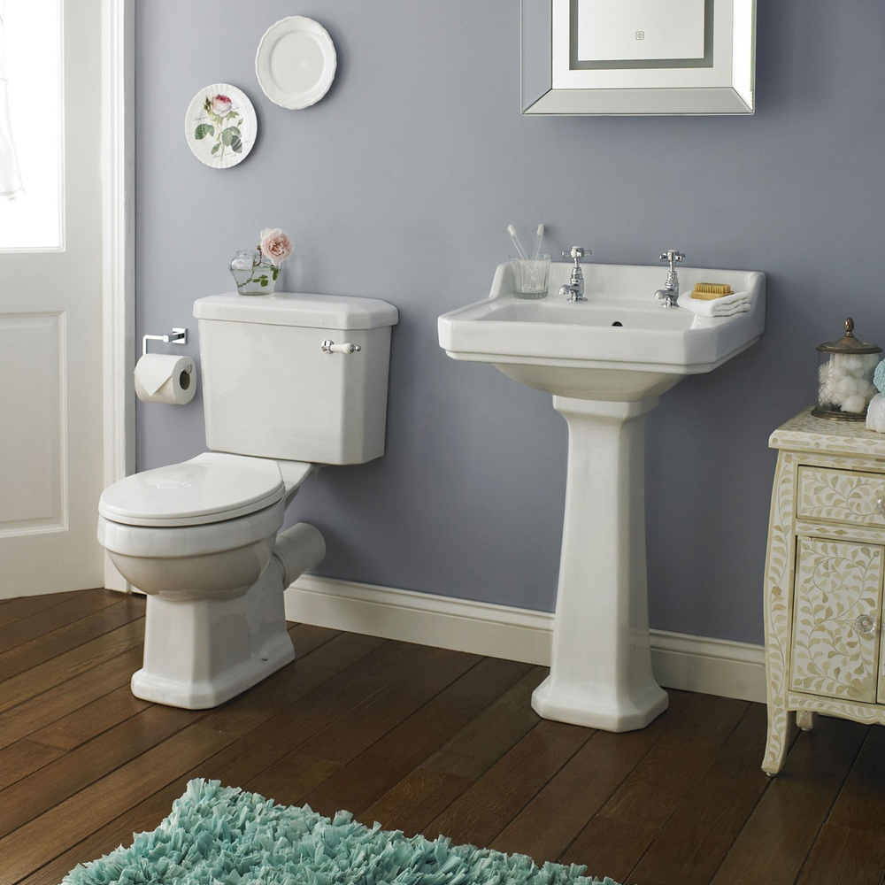 Premier Carlton Traditional Basin with Pedestal (2 Tap Hole - Various Sizes) profile large image view 2