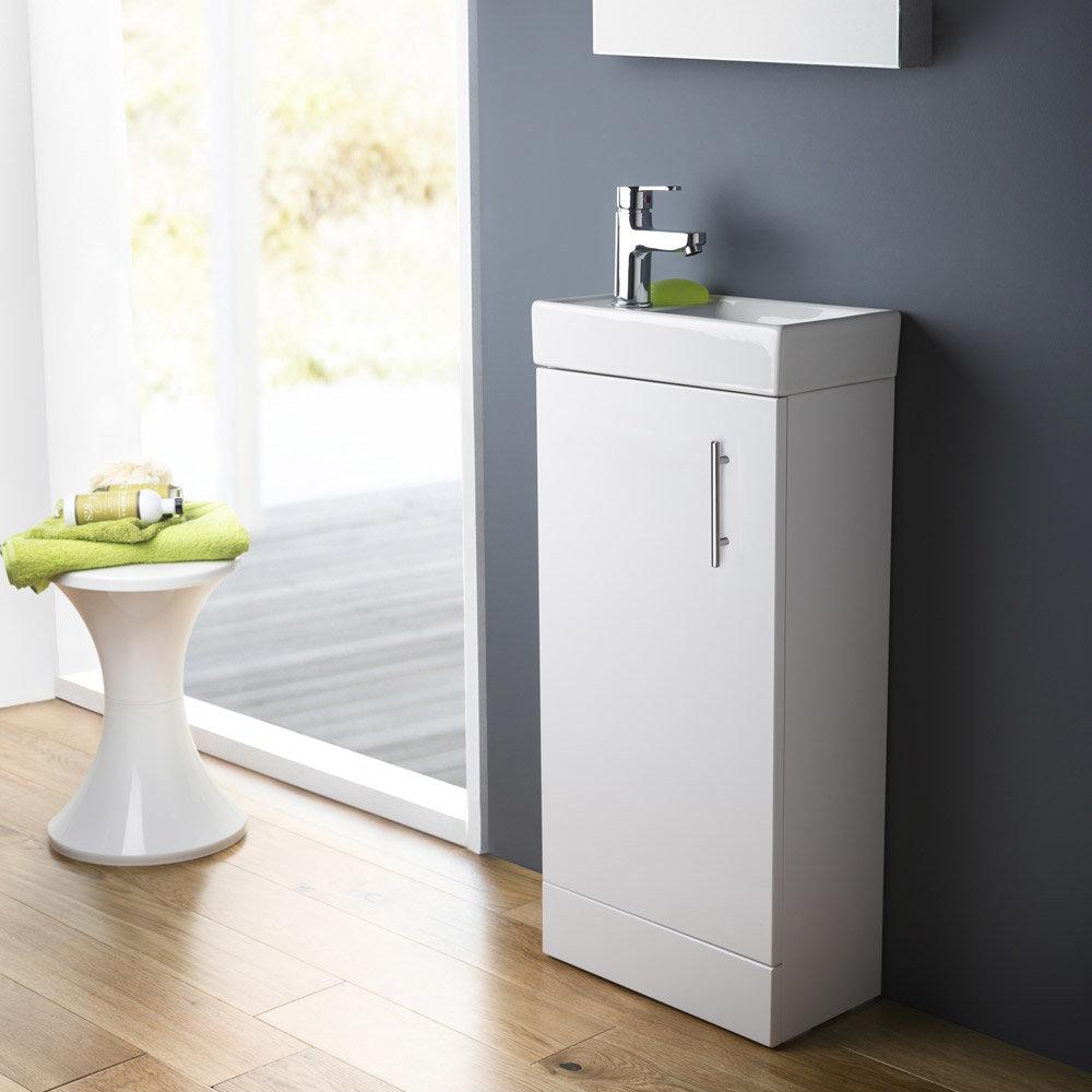 Premier - Minimalist Compact Floor Standing Basin Unit W400 x D222mm - Gloss White - NVX192 Profile Large Image
