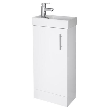 Premier - Minimalist Compact Floor Standing Basin Unit W400 x D222mm - Gloss White - NVX192