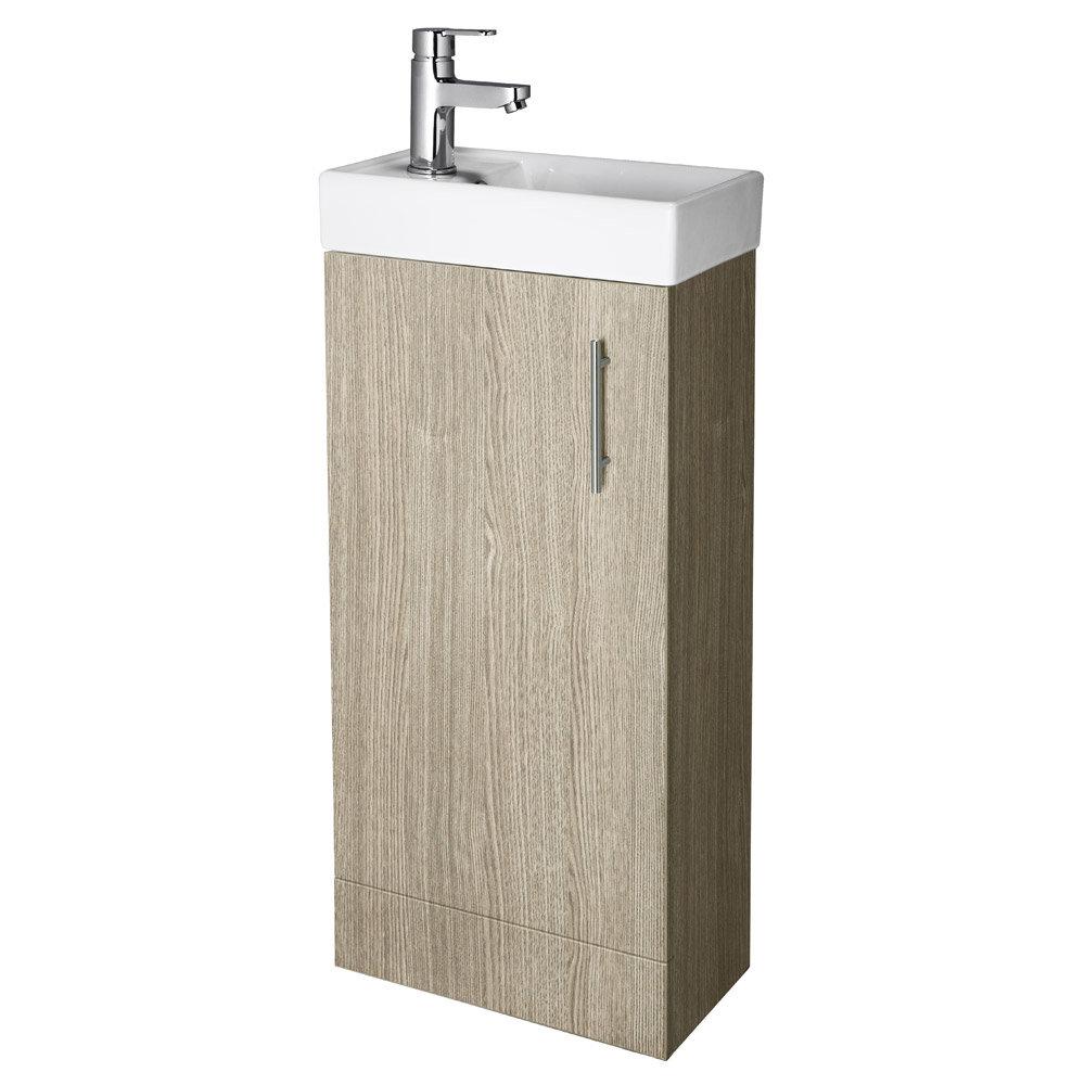 Premier - Minimalist Compact Floor Standing Basin Unit W400 x D222mm - Light Oak - NVX892 Large Image