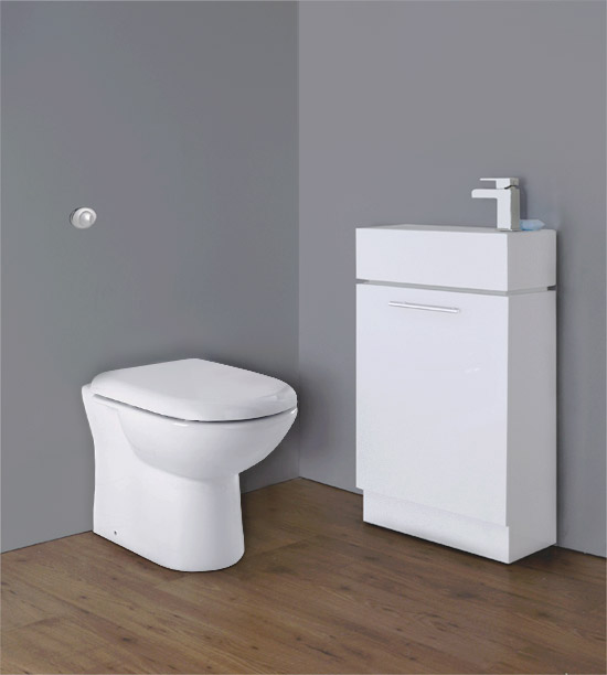 Premier - Cubix Gloss White Vanity Unit with Concealed Cistern, D-Shaped BTW Pan & Soft Close Seat Large Image