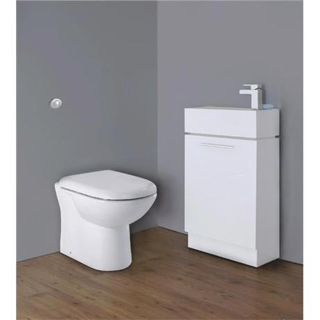 Premier - Cubix Gloss White Vanity Unit with Concealed Cistern, D-Shaped BTW Pan & Soft Close Seat