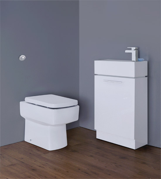 Premier - Cubix Gloss White Vanity Unit with Concealed Cistern, Square BTW Pan & Soft Close Seat Large Image
