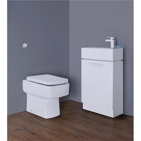 Premier - Cubix Gloss White Vanity Unit with Concealed Cistern, Square BTW Pan & Soft Close Seat