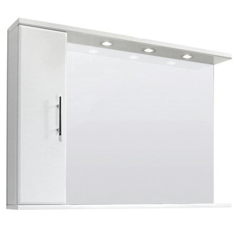 Premier Delaware High Gloss White Illuminated Mirror Cabinet W1050 x D170mm - VTY028
