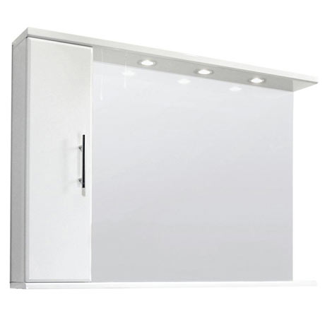 Premier Delaware High Gloss White Illuminated Mirror Cabinet W1200 x D170mm - VTY029