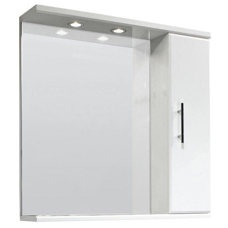 Premier Delaware High Gloss White Illuminated Mirror Cabinet W750 x D170mm - VTY007
