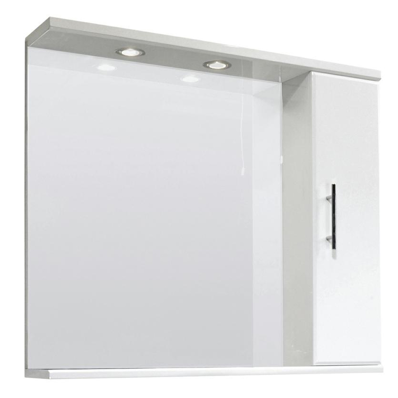 Premier Delaware High Gloss White Illuminated Mirror Cabinet W850 x D170mm - VTY027 Large Image