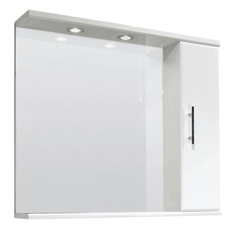 Premier Delaware High Gloss White Illuminated Mirror Cabinet W850 x D170mm - VTY027