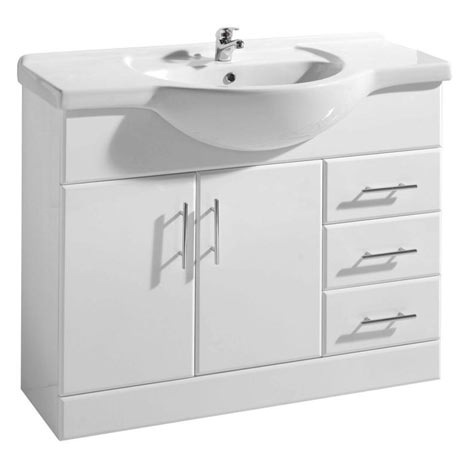 Premier Delaware High Gloss White Vanity Unit with Basin W1050 x D330mm - VTY1050