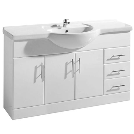 Premier Delaware High Gloss White Vanity Unit with Basin W1200 x D330mm - VTY1200