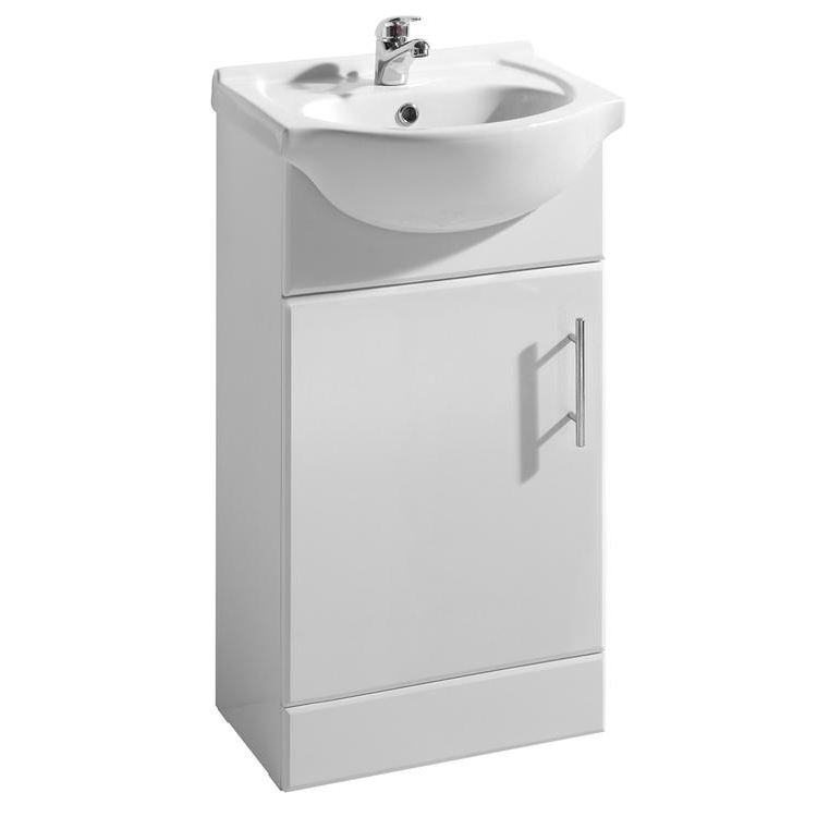Premier Delaware Gloss White Vanity Unit with Basin W450 x D300mm - VTY450 Large Image