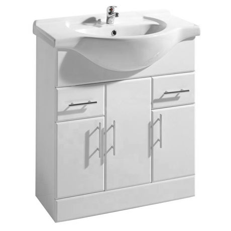 Premier Delaware High Gloss White Vanity Unit with Basin W750 x D330mm - VTY750
