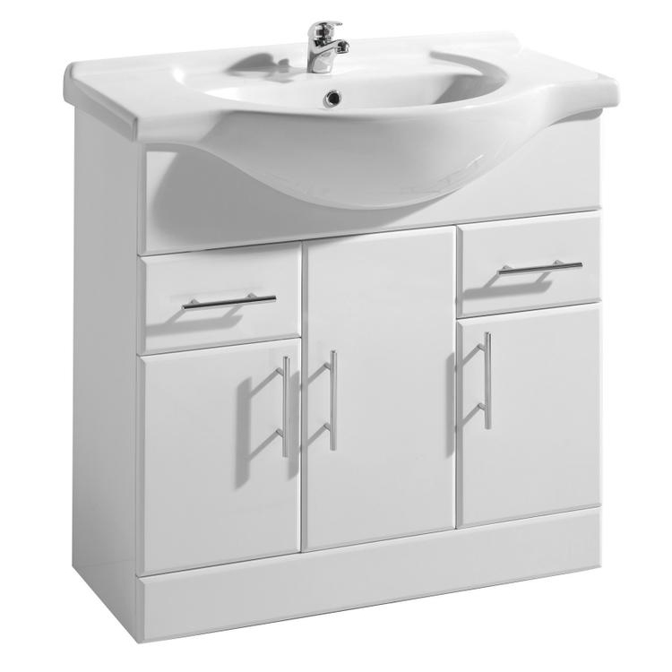 Premier Delaware High Gloss White Vanity Unit with Basin W850 x D330mm - VTY850 Large Image
