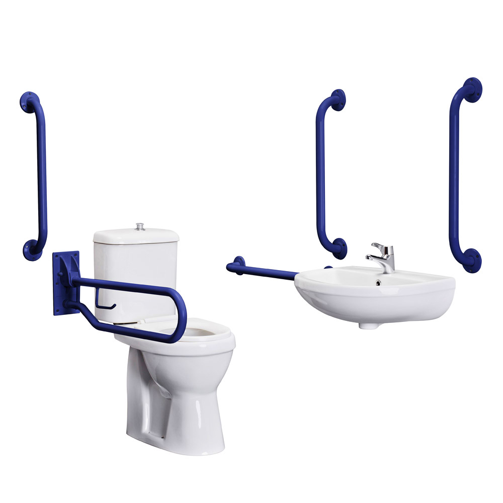 Premier - Doc M Pack - Disabled Bathroom Toilet, Basin and Grab Rails - Blue Profile Large Image