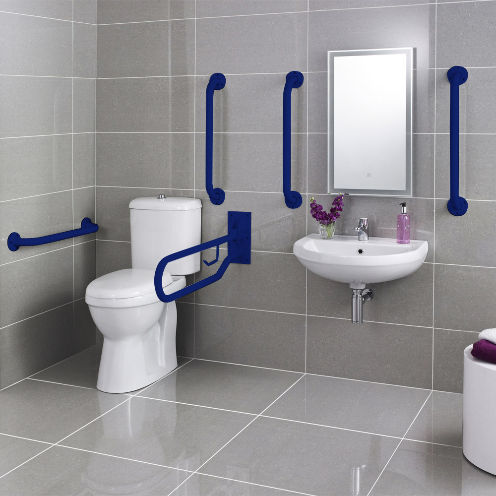 Premier - Doc M Pack - Disabled Bathroom Toilet, Basin and Grab Rails - Blue Large Image