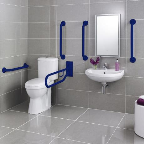 Premier - Doc M Pack - Disabled Bathroom Toilet, Basin and Grab Rails - Blue