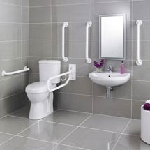 Premier - Doc M Pack - Disabled Bathroom Toilet, Basin and Grab Rails - White Medium Image
