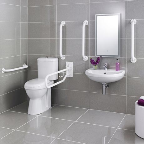 Premier - Doc M Pack - Disabled Bathroom Toilet, Basin and Grab Rails - White