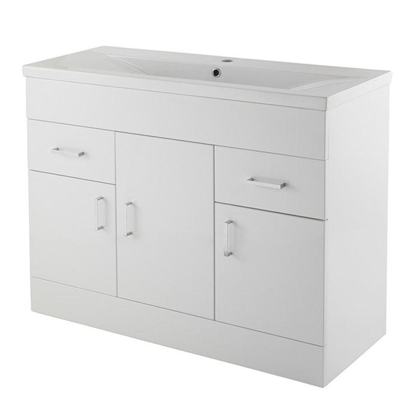 Premier Eden Minimalist Gloss White Vanity Unit W1000 x D400mm - VTNB1000 profile large image view 1