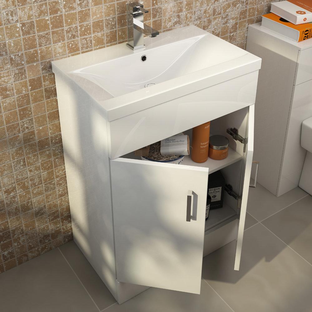 Premier Eden Minimalist Gloss White Vanity Unit W600 x D400mm - VTNB600 Feature Large Image