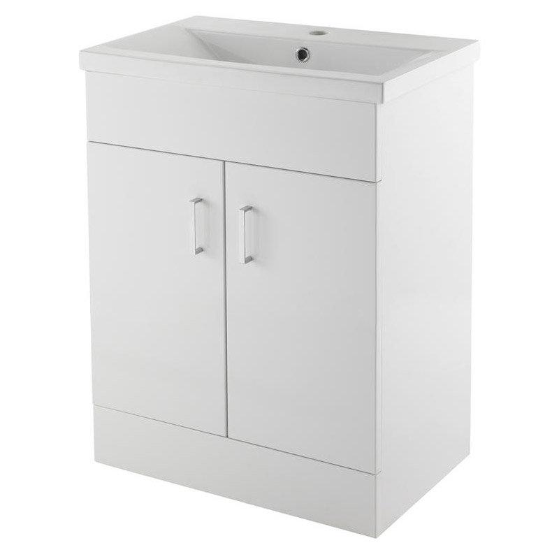 Premier Eden Minimalist Gloss White Vanity Unit W600 x D400mm - VTNB600 Large Image