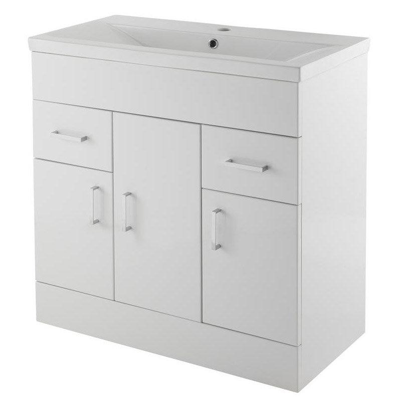 Premier Eden Minimalist Gloss White Vanity Unit W800 x D400mm - VTNB800 Large Image