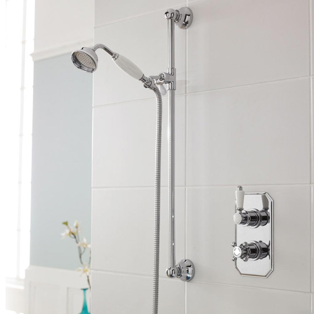 Premier Edwardian Twin Concealed Thermostatic Shower Valve & Slider Rail Kit Large Image