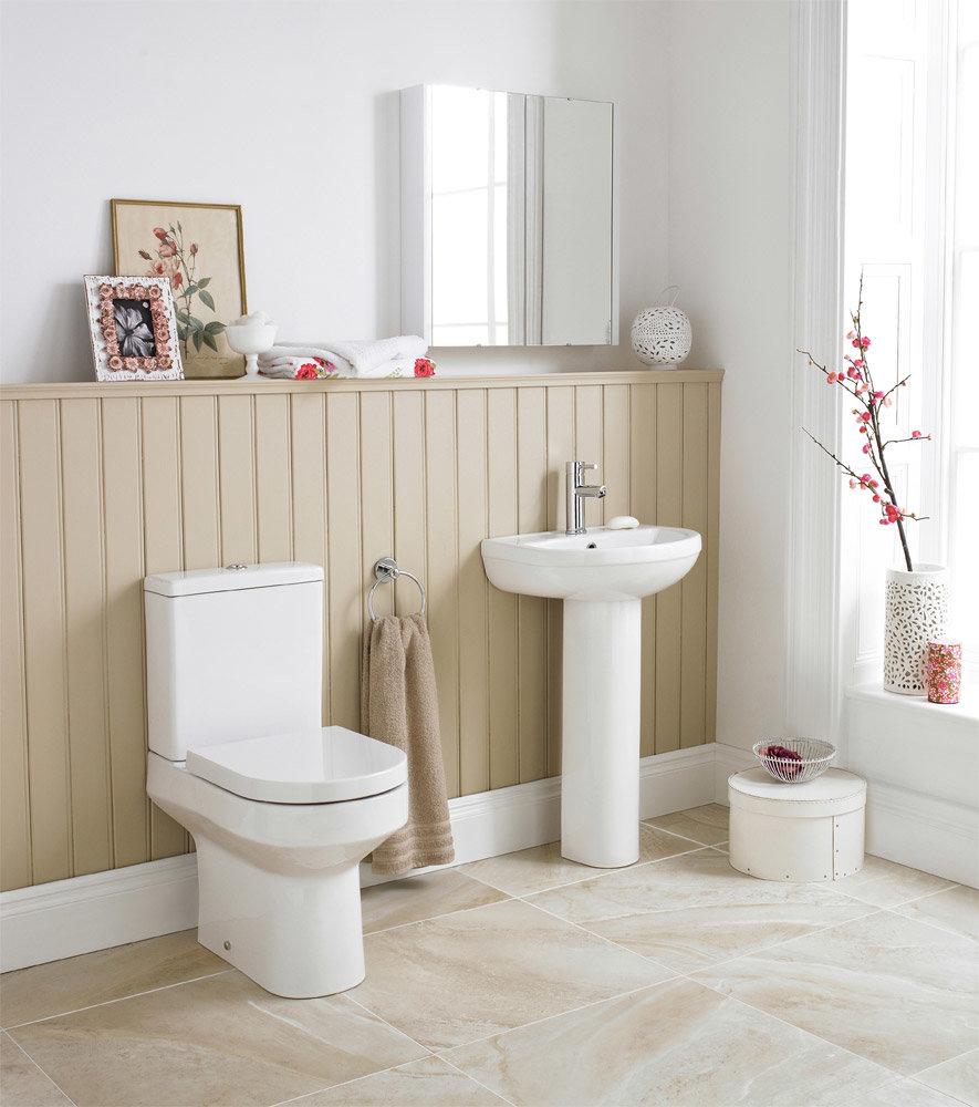 Premier Harmony 4 Piece Bathroom Suite - CC Toilet & 1TH Basin with Pedestal profile large image view 1