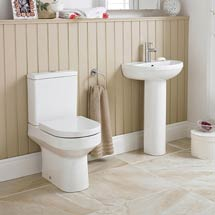 Premier - Harmony 4 Piece Bathroom Suite - CC Toilet & 1TH Basin with Pedestal Medium Image