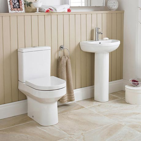 Premier - Harmony 4 Piece Bathroom Suite - CC Toilet & 1TH Basin with Pedestal